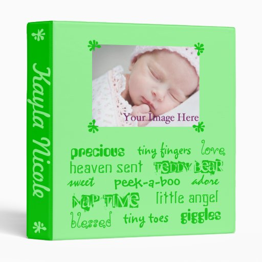 Add Your Baby's Info Green Unisex Baby Book 3 Ring Binders