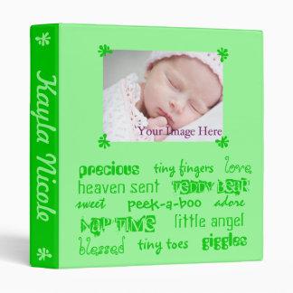 Add Your Baby's Info Green Unisex Baby Book Vinyl Binders