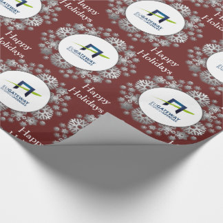 Add Your Business Logo Snowflakes Holiday Wrapping Paper