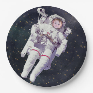 Add Your Child's Photo Space Birthday Plates 9 Inch Paper Plate
