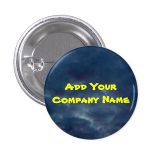 Add Your Company Name Colorful Blue Clouds Pinback Button