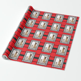 Add your Dog or Cat's Portrait Pet Christmas Wrapping Paper