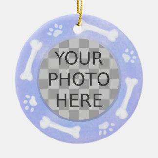 Add Your Dog's Photo: Bones and Pawprints Ceramic Ornament