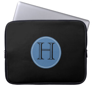 ADD YOUR INITIALS! BLACK AND BLUE LAPTOP SLEEVE