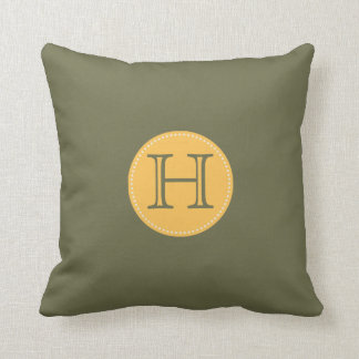ADD YOUR INITIALS!OLIVE GREEN, YELLOW THROW PILLOW