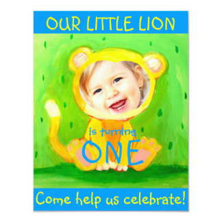 add your kids photo cute funny 1st birthday lion card