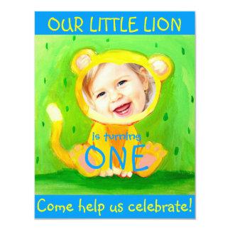 "add your kids photo cute funny 1st birthday lion 4.25"" x 5.5"" invitation card"