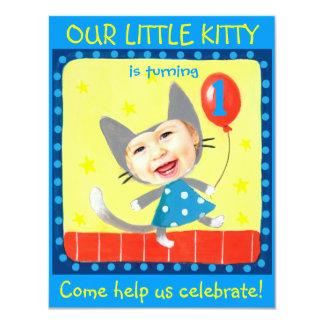 "add your kids photo cute girly 1st birthday kitty 4.25"" x 5.5"" invitation card"