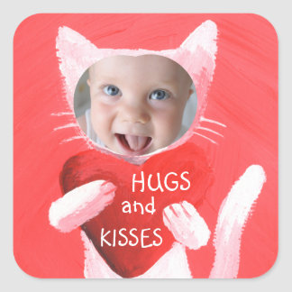 add your kid's photo personalized square sticker