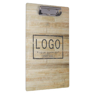 Add your logo on wooden floor clipboard