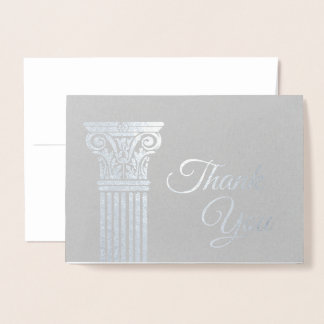 Add Your Logo Silver Foil Thank You Cards   Pillar