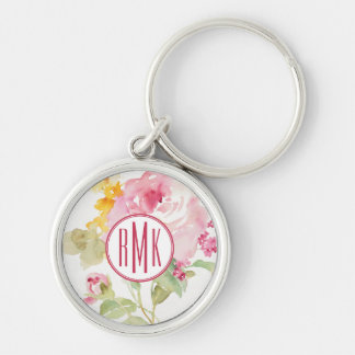 Add Your Monogram | Mid July Silver-Colored Round Keychain