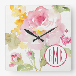 Add Your Monogram | Mid July Square Wall Clock