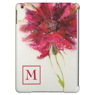 Add Your Monogram | Pink Daisy on White iPad Air Cases