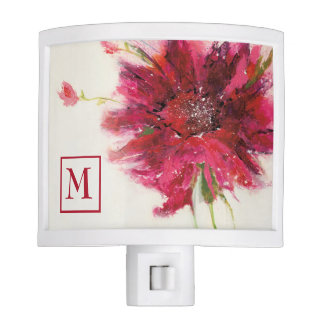 Add Your Monogram | Pink Daisy on White Night Lites