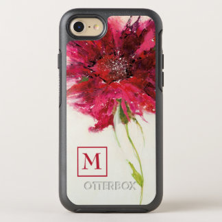Add Your Monogram | Pink Daisy on White OtterBox Symmetry iPhone 8/7 Case