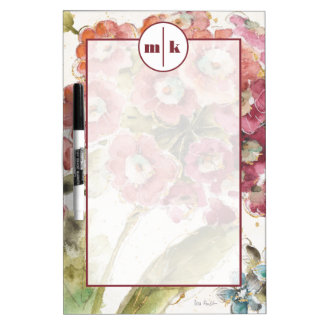 Add Your Monogram | Pink Primrose Dry Erase White Board