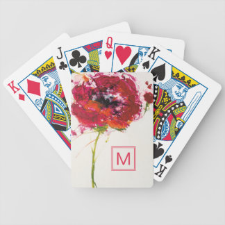 Add Your Monogram | Poppy on White Bicycle Playing Cards