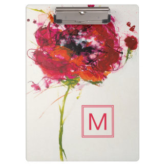 Add Your Monogram | Poppy on White Clipboard