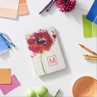 Add Your Monogram   Poppy on White iPad Mini Cover