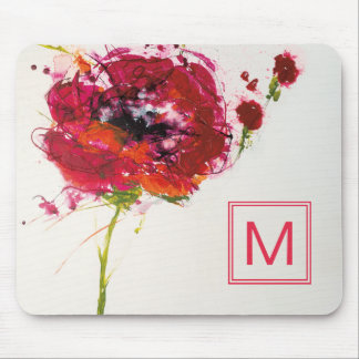 Add Your Monogram | Poppy on White Mouse Pad