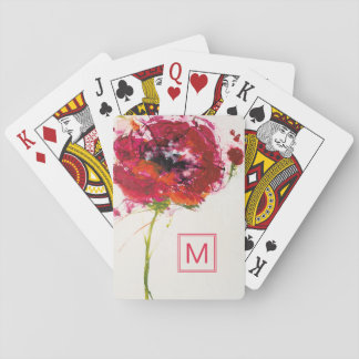 Add Your Monogram | Poppy on White Playing Cards