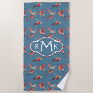 Add Your Monogram | Retro Hummingbird Pattern Beach Towel