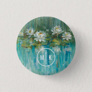 Add Your Monogram | Water Lily Pond 1 Inch Round Button