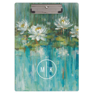 Add Your Monogram | Water Lily Pond Clipboards