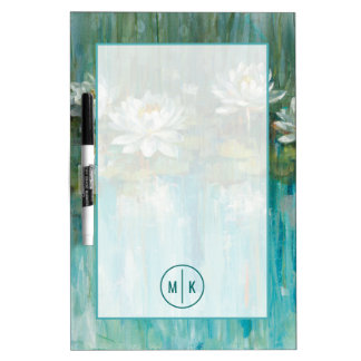 Add Your Monogram | Water Lily Pond Dry Erase Board