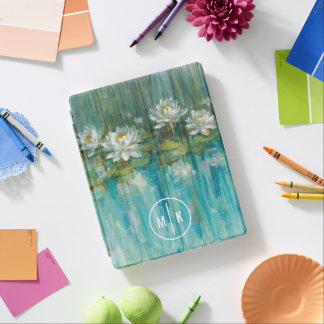 Add Your Monogram   Water Lily Pond iPad Cover