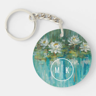 Add Your Monogram | Water Lily Pond Keychain