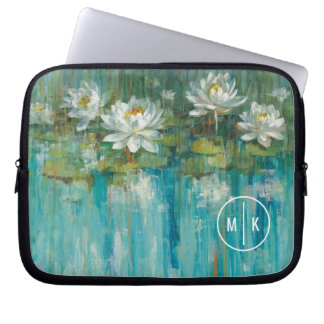 Add Your Monogram | Water Lily Pond Laptop Sleeve