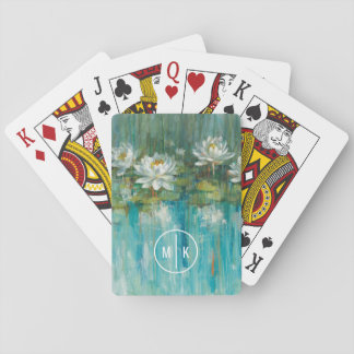 Add Your Monogram | Water Lily Pond Playing Cards
