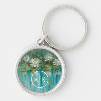 Add Your Monogram | Water Lily Pond Silver-Colored Round Keychain