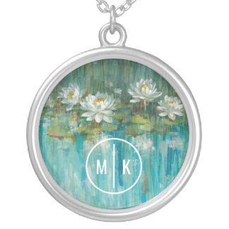Add Your Monogram | Water Lily Pond Silver Plated Necklace