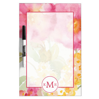 Add Your Monogram | White Daisy on Blue Dry Erase Board