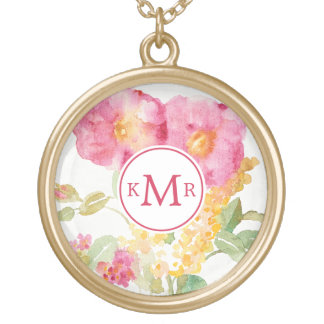 Add Your Monogram | White Daisy on Blue Gold Plated Necklace