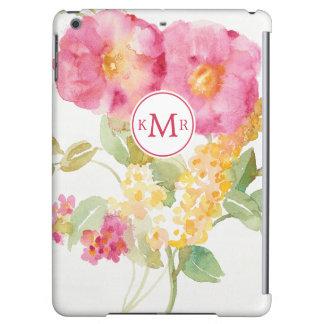 Add Your Monogram | White Daisy on Blue iPad Air Case