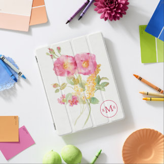 Add Your Monogram   White Daisy on Blue iPad Cover