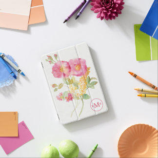Add Your Monogram   White Daisy on Blue iPad Mini Cover
