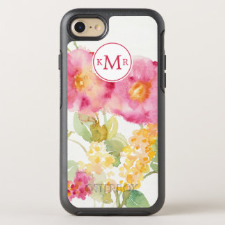 Add Your Monogram | White Daisy on Blue OtterBox Symmetry iPhone 8/7 Case