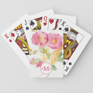 Add Your Monogram | White Daisy on Blue Playing Cards