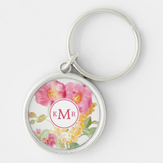 Add Your Monogram | White Daisy on Blue Silver-Colored Round Keychain