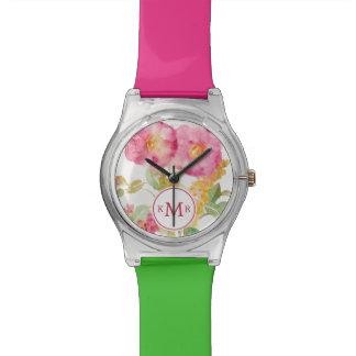 Add Your Monogram | White Daisy on Blue Wrist Watch