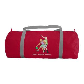 ADD YOUR NAME Basketball Duffle Gym Bag, Red Gym Bag