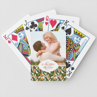 Add Your Name | Bird Of Paradise Flower Pattern Bicycle Playing Cards