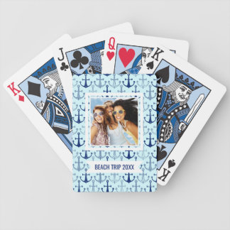 Add Your Name | Blue Anchor Pattern Bicycle Playing Cards