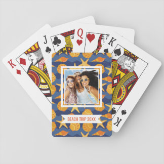 Add Your Name | Blue And Orange Seashell Pattern Playing Cards