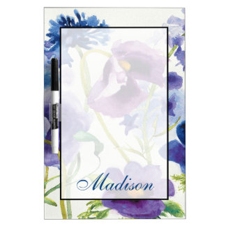 Add Your Name | Blue and Purple Mixed Garden Dry-Erase Whiteboard